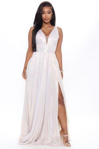 WOMEN Can't Compare Metallic Maxi Dress - Nude