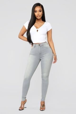 WOMEN Serving Curves High Rise Skinny Jeans - Grey