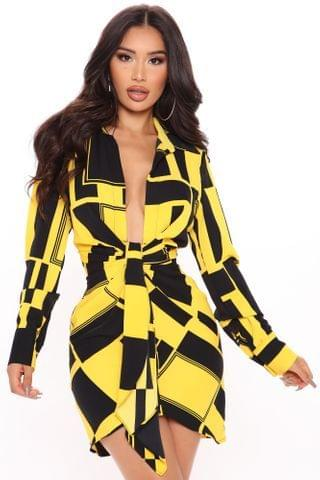 WOMEN Playing The Part Shirt Dress - Black/Yellow