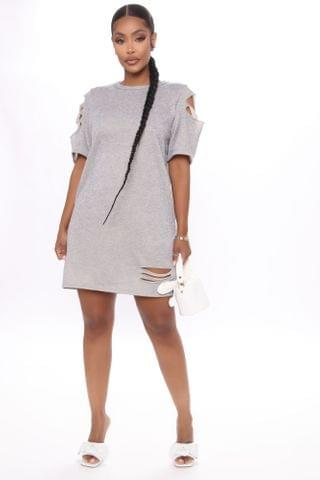WOMEN Torn To Pieces Distressed Mini Dress - Heather Grey