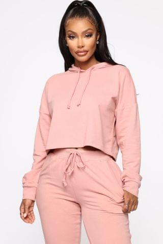 WOMEN Latest and Greatest French Terry Crop Hoodie - Mauve