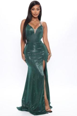 WOMEN Evening Gala Metallic Maxi Dress - Emerald