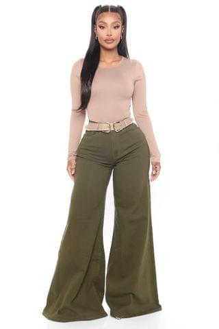 WOMEN Flare For The Dramatics Wide Leg Jeans - Olive