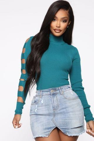 WOMEN Never Out Of Style Ribbed Sweater - Teal