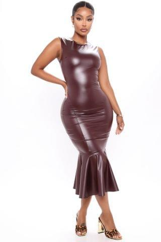 WOMEN Pour Me Champagne Faux Leather Midi Dress - Burgundy