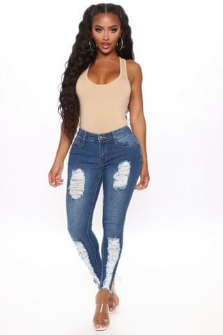 WOMEN Alisha Distressed Mid Rise Skinny Jeans - Medium Blue Wash