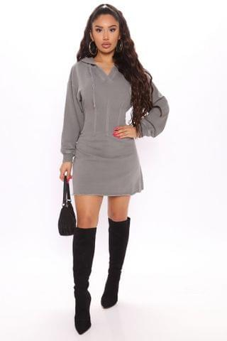 WOMEN Hold Me Tight Sweatshirt Mini Dress - Grey