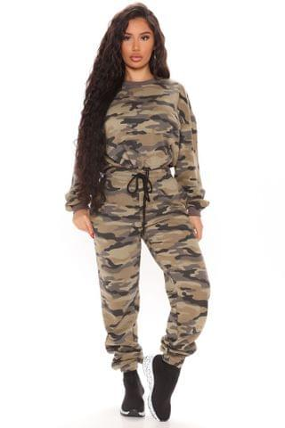 WOMEN Baddie Baby Pullover And Jogger Set - Olive/combo