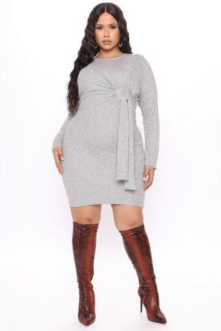 WOMEN A Little Tied Sweater Mini Dress - Heather Grey