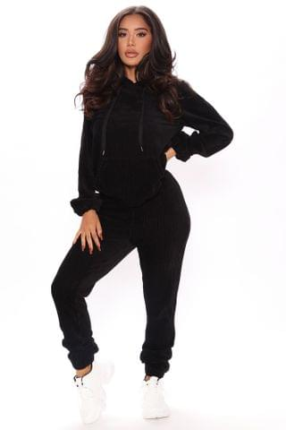 WOMEN Act Accordingly Ribbed Hoodie And Jogger Set - Black