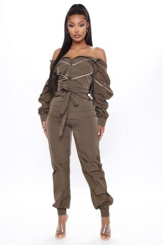 WOMEN Shopping Is My Cardio Sweat Jumpsuit - Olive