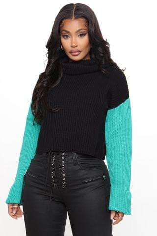 WOMEN New Attitude Turtleneck Sweater - Black/combo
