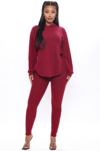 WOMEN Cutting Corners Legging Set - Burgundy