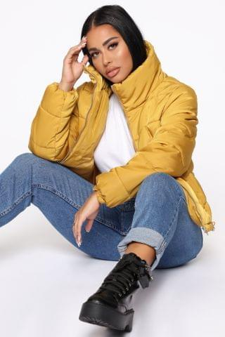 WOMEN On The Cold Side Puffer Jacket - Mustard