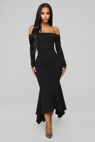 WOMEN Simply Gorgeous Off Shoulder Midi Dress - Black