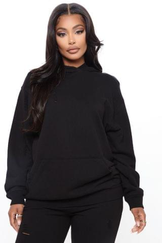 WOMEN Take Care Of You Distressed Hoodie - Black