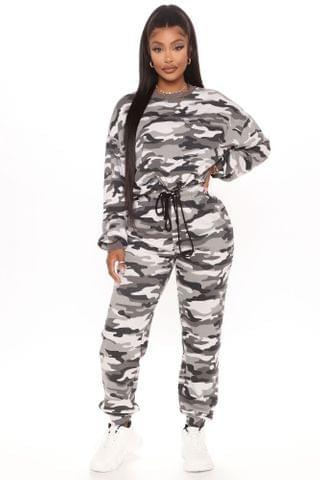 WOMEN Baddie Baby Pullover And Jogger Set - Charcoal/combo
