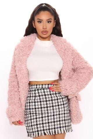 WOMEN Winters Finest Fuzzy Coat - Mauve