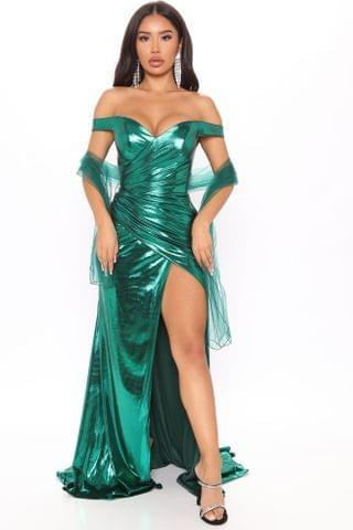 WOMEN Catch A Glimpse Metallic Maxi Dress - Emerald