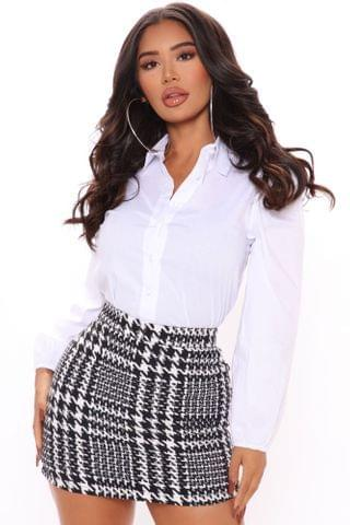 WOMEN We're In Business Puff Sleeve Shirt - White