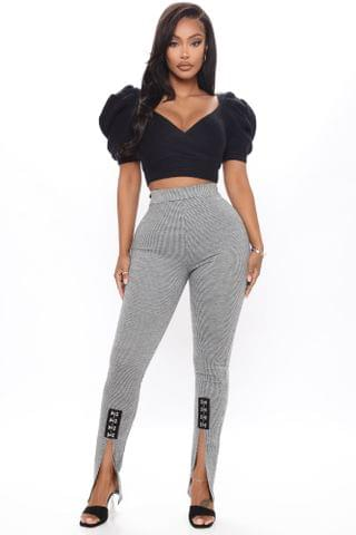 WOMEN Just A Little Split Houndstooth Pant - Black/White