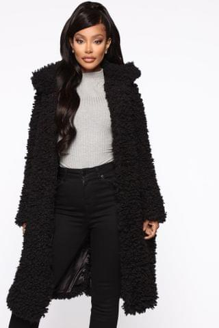 WOMEN All About Me Fuzzy Coat - Black