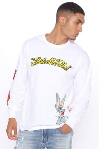 MEN Bugs Bunny What's Up Doc Long Sleeve Tee - White