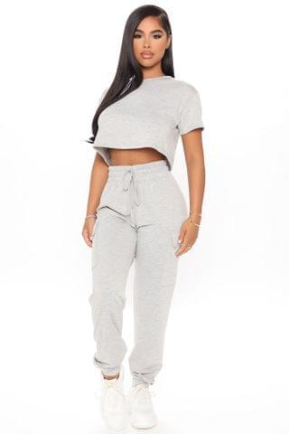 WOMEN Too Busy To Care Crop Tee And Jogger Set - Heather Grey