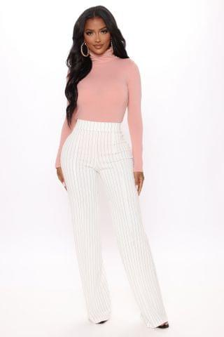 WOMEN Victoria High Waisted Dress Pant- Pinstripe - Ivory/combo