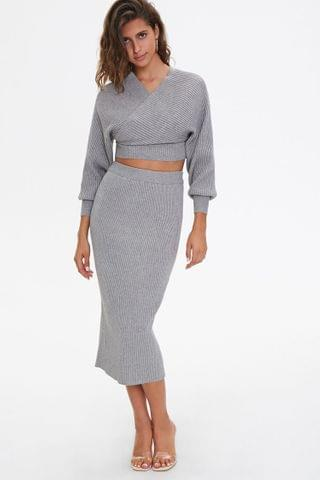 WOMEN Sweater-Knit Midi Skirt