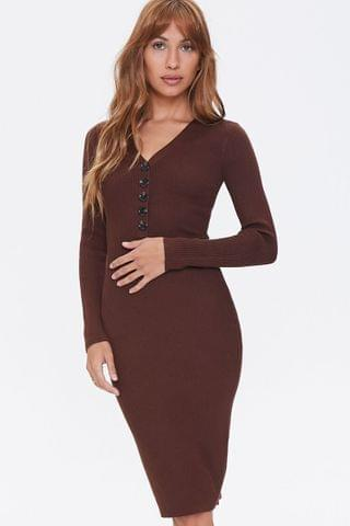 WOMEN Ribbed Sweater-Knit Dress