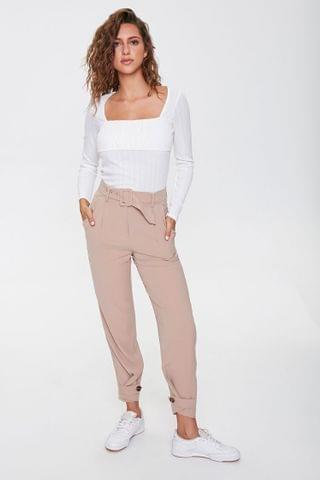 WOMEN Belted High-Rise Pants