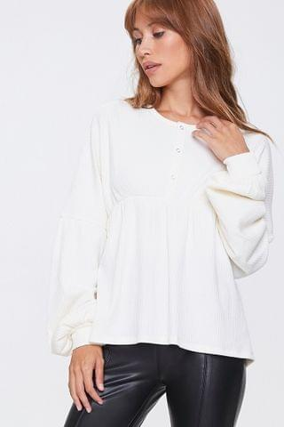 WOMEN Ribbed Bell-Sleeve Top