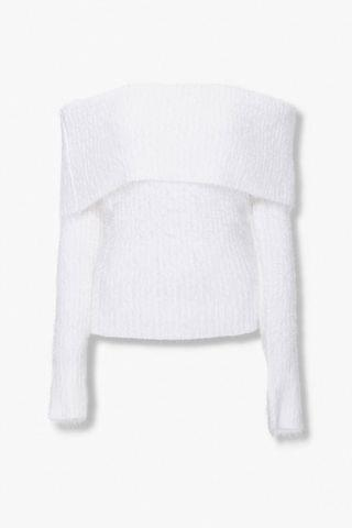 WOMEN Foldover Off-the-Shoulder Sweater