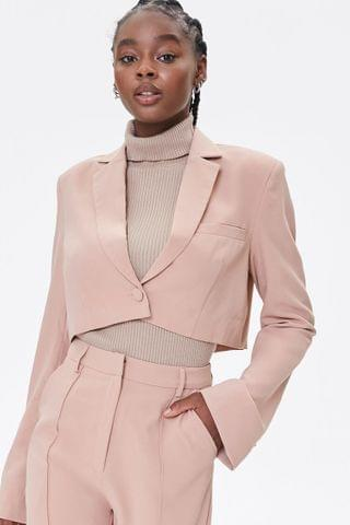 WOMEN Cropped Notched-Lapel Blazer