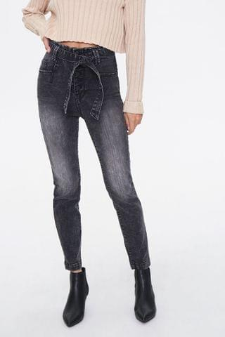 WOMEN Belted High-Rise Jeans