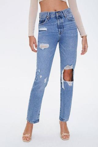 WOMEN Destroyed High-Rise Mom Jeans