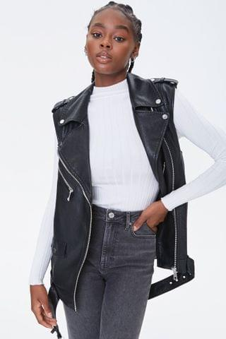 WOMEN Faux Leather Moto Vest