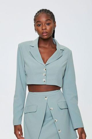 WOMEN Padded Cropped Blazer