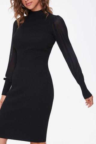 WOMEN Sweater-Knit Mock Neck Dress