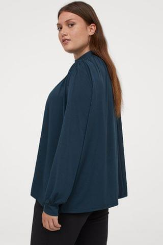WOMEN H&M+ Stand-up Collar Top