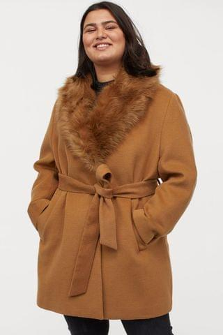 WOMEN H&M+ Faux Fur-collared Coat