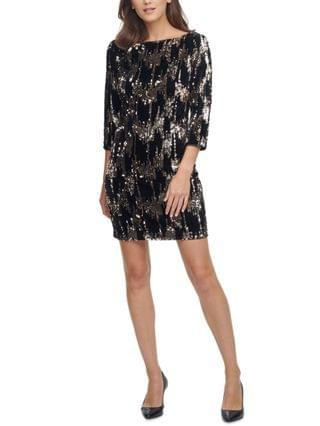 WOMEN Velvet Sequined Shift Dress