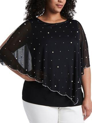WOMEN Plus Size Beaded Overlay Top