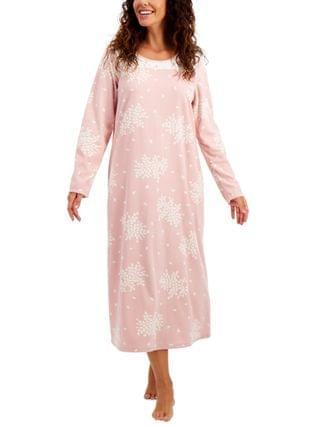 WOMEN Printed Fleece Long Nightgown, Created for Macy's