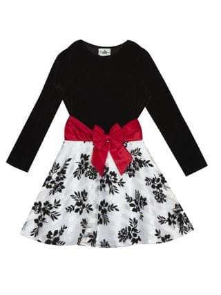 KIDS Big Girl Velvet Long Sleeve Bodice To Burnout Organza Flock Skirt