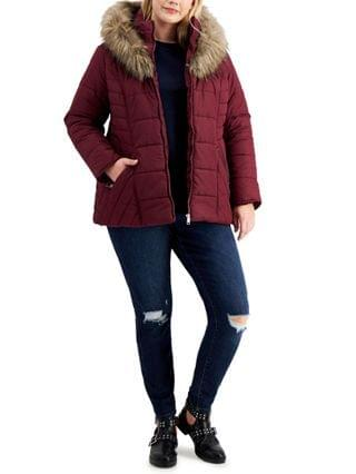 WOMEN Trendy Plus Size Faux-Fur-Trim Hooded Puffer Coat