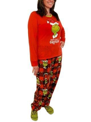WOMEN Matching Plus Size Grinch 3pc Family Pajama Set