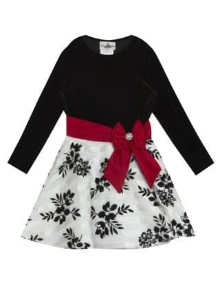 KIDS Little Girl Velvet Long Sleeve Bodice To Burnout Organza Flock Skirt