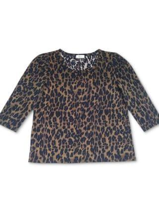 WOMEN Cotton Animal-Print Puff-Shoulder Top, Created for Macy's